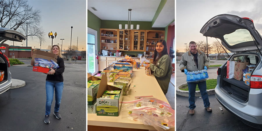 internal medicine staff and family members work on donated goodie bags