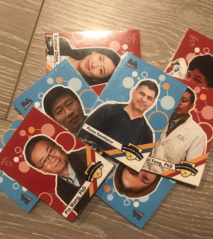 A collection of scientist and physician trading cards created by UCLA and USC