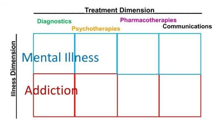 An illustration of the 2x4 Model of Addiction Psychiatry care