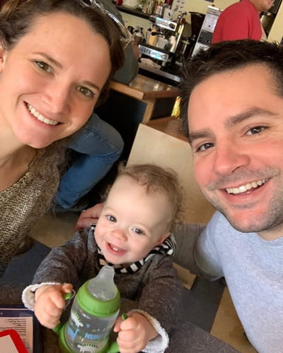 Dr. Will Martin, EM/Peds physician resident, with his wife Krista, and son, Peter