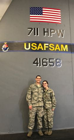 Carlos and Sarina in uniform