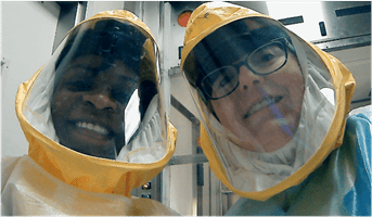 Melissa Kacena, PhD, (right) poses for a photo with Olatundun Awosanya. Awosanya is a PhD student in Kacena's laboratory, working on the COVID-19 studies for her thesis.