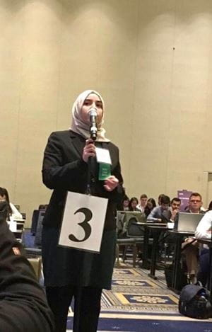 Leena Aljobeh speaks at AMA conference