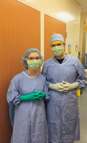 Sarina and Carlos in neurosurgery rotation