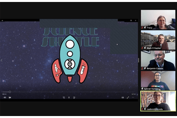 A screenshot of five people in a Zoom meeting and the Science Shuttle logo.
