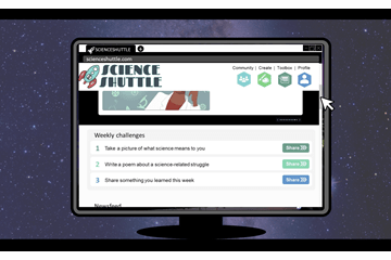 A screenshot of a website concept for Science Shuttle.
