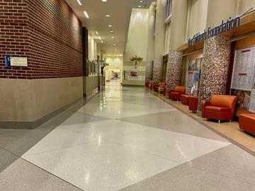 Empty hallways during initial COVID-19 shutdown at Riley Hospital for Children
