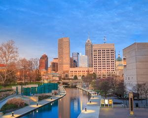 Indianapolis skyline and canal at sunset