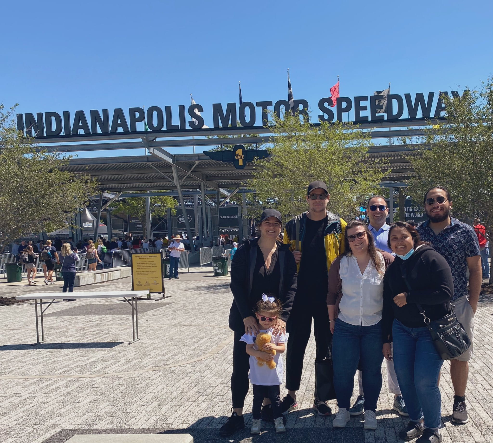 team photo of the Perna lab at the Indianapolis Motor Speedway
