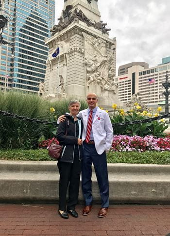 Zappia with his grandmother Maria at his white coat ceremony